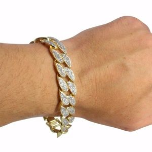 NEW Frosted Glitter Miami Cuban Curb Link Bracelet